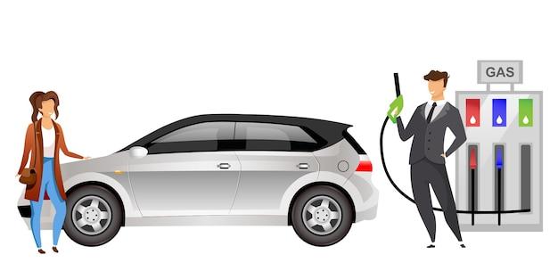 ガソリンスタンドのカップルフラットカラー顔のないキャラクター夫と妻のガソリンスタンドで車に燃料を補給するウェブグラフィックデザインとアニメーションの漫画イラストガソリンスタンドの人々