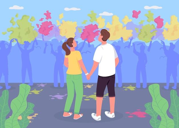 ホーリー祭のフラットカラーイラストでカップル。男の子と女の子がパフォーマンスを見ます。伝統的なインドのお祭り。バックグラウンドで人々の群衆とボーイフレンドとガールフレンドの2d漫画のキャラクター