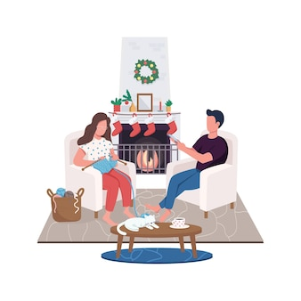 自宅の暖炉のフラットカラーの顔のないキャラクターのカップル