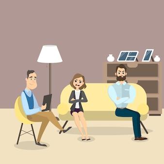 Пара у психолога. консультирование в офисе.