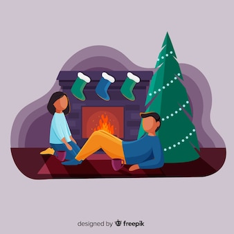 Couple at the fireplace christmas illustration