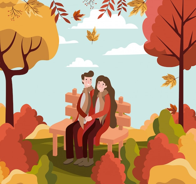 Couple in autumn background
