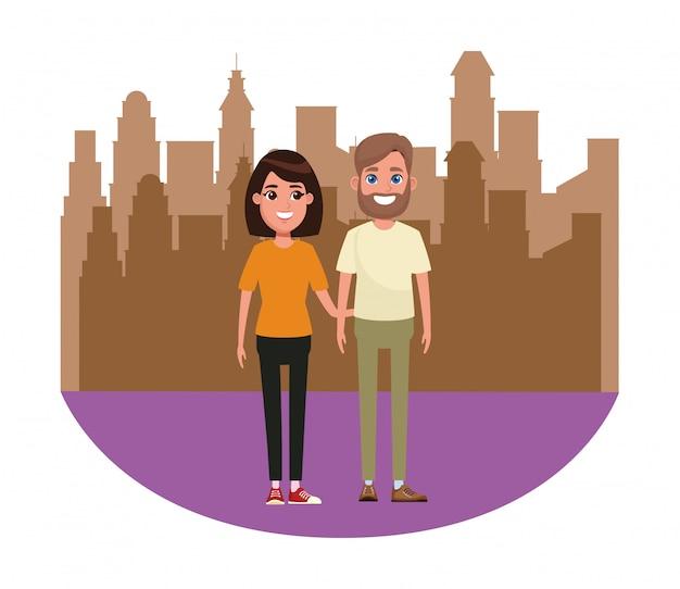 Couple avatar cartoon character portrait