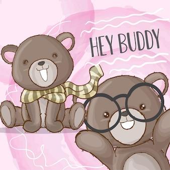 Couple baby bear hand drawn animal