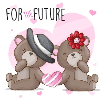 Couple baby bear hand drawn animal