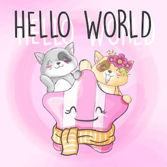 Пара ребенок котенок рисованной животное