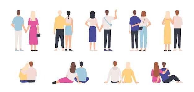 カップルの背面図。抱き合ったり、立ったり、一緒に座ったり、手をつないでいるカップル。デートの男女。若者の関係のベクトルを設定します。一緒に立っている若いカップルのイラスト