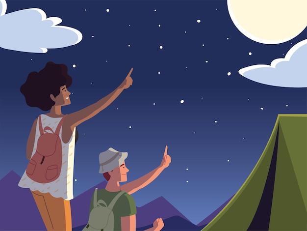 Пара пеших туристов ночь палатка кемпинг