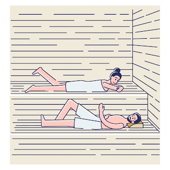 Пара купается в сауне или бане. счастливый мужчина и женщина в полотенцах, расслабляющихся в спа
