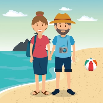 Couple in the beach characters