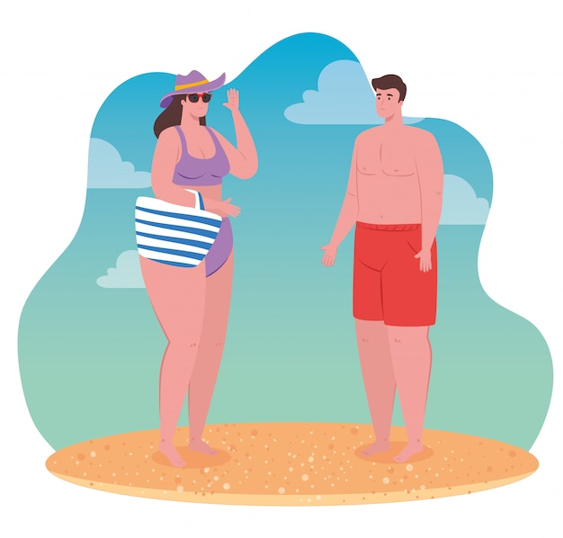 Couple on the beach using swimsuit, woman and man in summer vacation vector illustration design