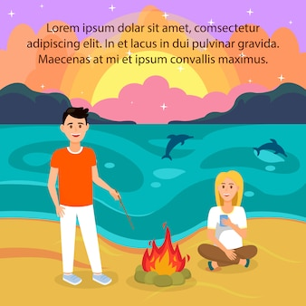 Couple on beach vector illustration with copyspace