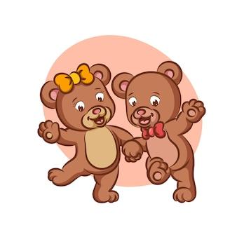 Пара медведь танцует вместе со счастливым лицом