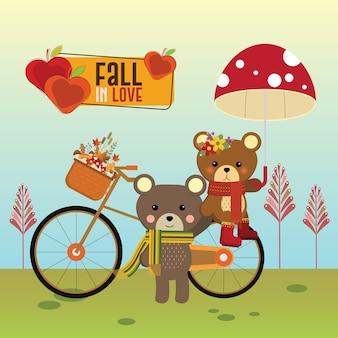 Пара медведь с велосипедом осенью