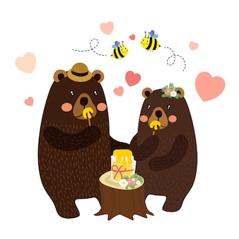 Couple bears eating honey cartoon character