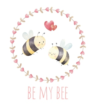 Couple of bees in love, cute valentine's day card, watercolor