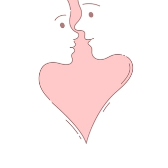 Couple before a kiss hand drawn doodle style