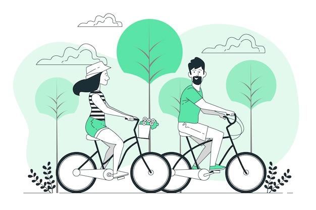 커플 자전거 컨셉 일러스트