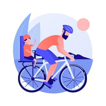 Coppia in bicicletta. stile di vita sano e fitness. cavaliere su strada, ciclista in collina, gara ciclistica. famiglia in viaggio. veicolo e trasporto. illustrazione della metafora del concetto isolato di vettore.