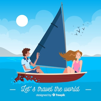 Couple on a boat travel background