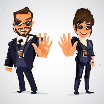 Couple bodyguard ordered to stop with hand