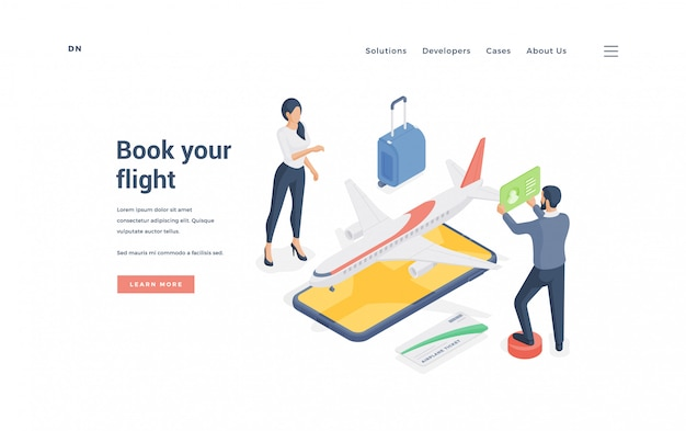 Couple booking airplane flight online.   illustration