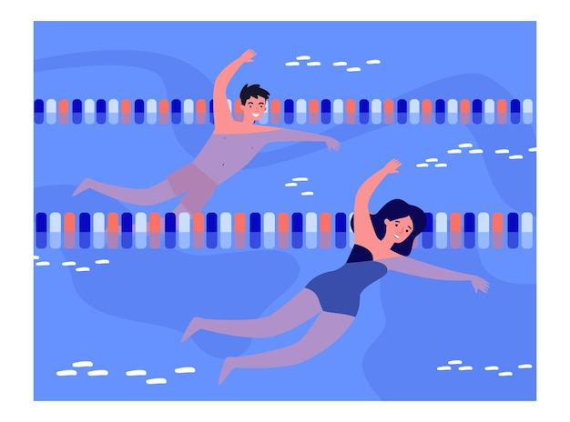 Couple of boy and girl swimming in pool