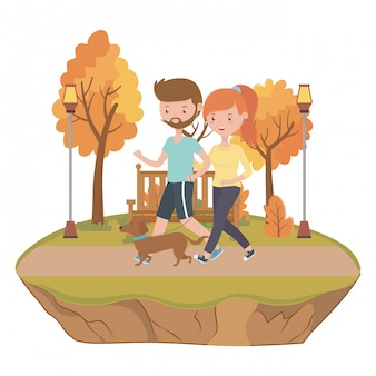 Couple of boy and girl with dog