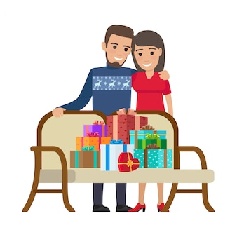 Couple and bunch of gifts. christmas illustration