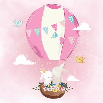 Couple bunny in the air balloon