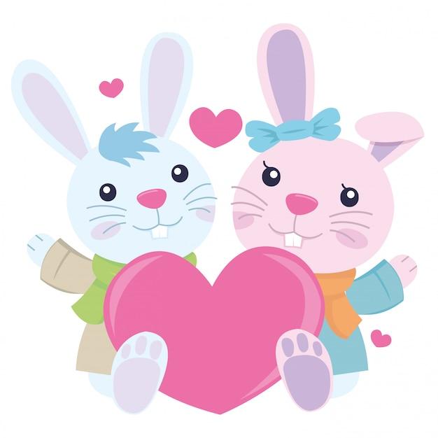 발렌타인 데이에 몇 토끼 흰색 배경에 고립