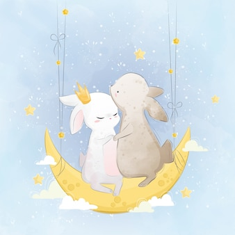 Couple Bunny on the Moon