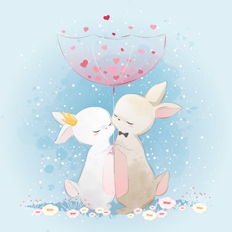 Couple Bunny Under Love Rain