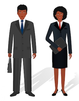 Couple of business african american man and woman on white