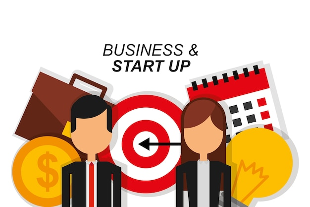 Couple business and start up target suitcase money calendar