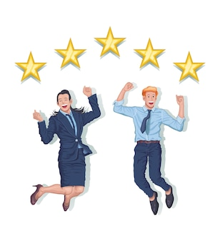 Couple businessman and woman jumping together success gold five stars rate vector illustration