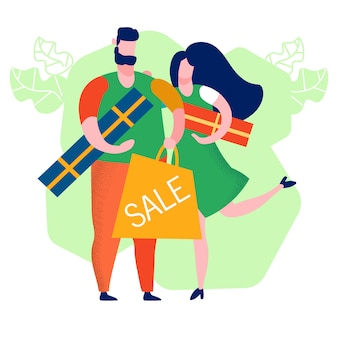 Couple buying gifts cartoon vector illustration
