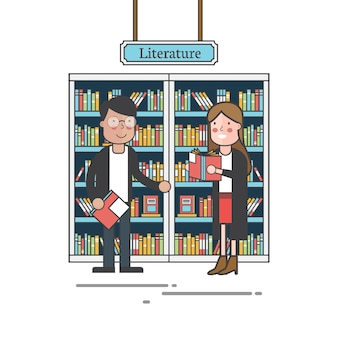 Couple by the bookshelves vector