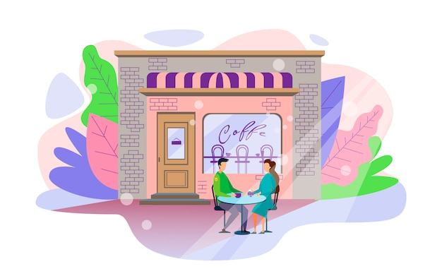 Couple in cafe romantic love relationship cartoon