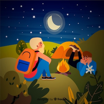 Couple camping at night background
