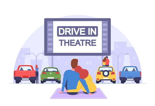 Couple at car cinema. romantic dating in drive-in theater, automobiles stand in open air parking at cityscape background. loving man and woman sit on auto roof watch movie. cartoon vector illustration