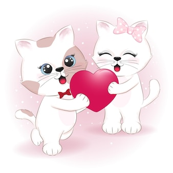 Пара кошек и сердца день святого валентина иллюстрация