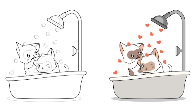 Couple cat are bathing cartoon coloring page