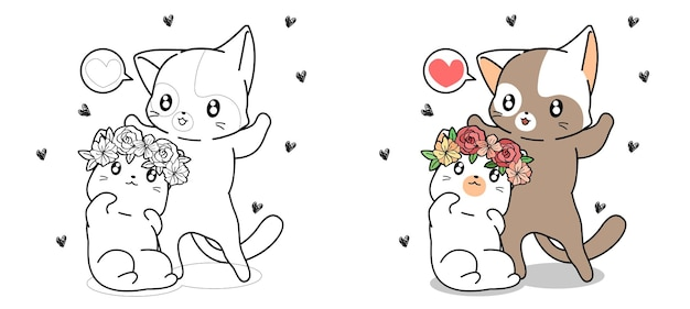 Couple cat are falling love cartoon coloring page