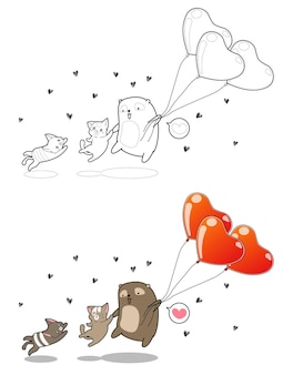 Couple cat and bear with heart balloons cartoon coloring page