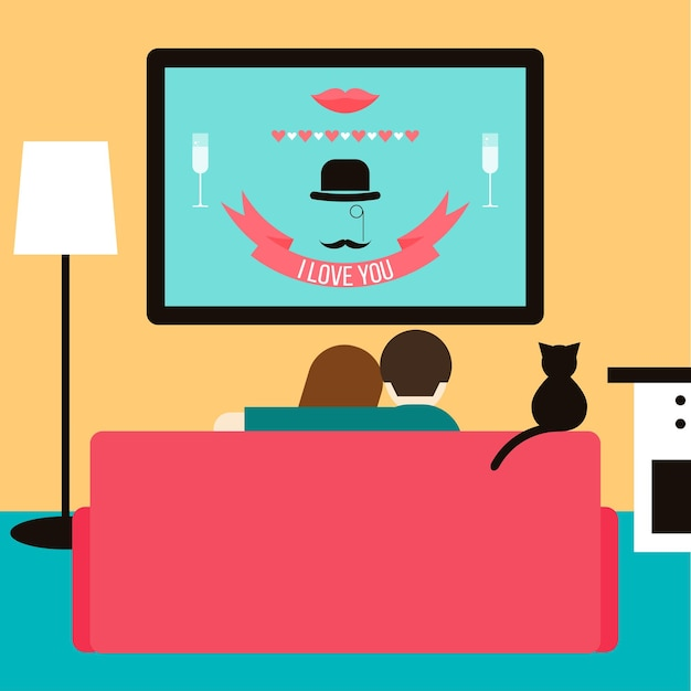 Couple and cat watching together wedding video on television sitting on the couch in the room. trendy flat style illustration for design card, invitation, poster, banner, placard cover