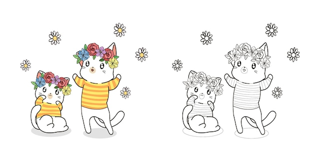 Couple cats with flower in spring day cartoon coloring page