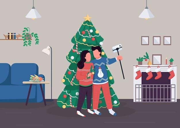 Пара празднует рождество плоские цветные рисунки