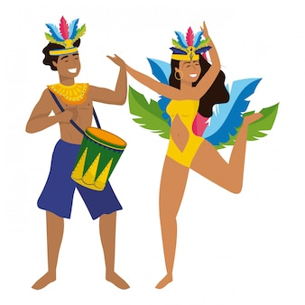 Couple celebrating brazil canival vector illustration