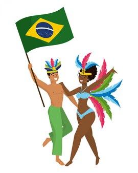 Couple celebrating brazil canival vector illustration